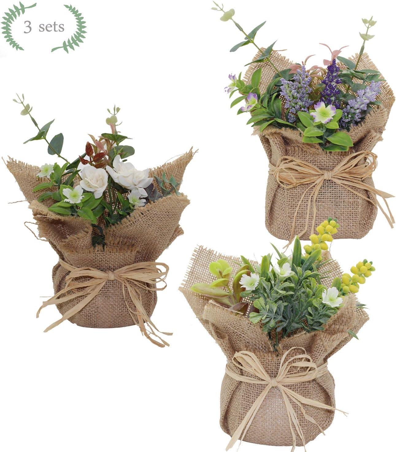 5 Sets, 7 Stems//Set Velener Artificial Silk Daisy Sunflowers Arrangements with Rattan Vase for Home Decor