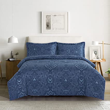 navy blue duvet cover Amazon.com: Wake In Cloud   Navy Blue Duvet Cover Set, Damask  navy blue duvet cover