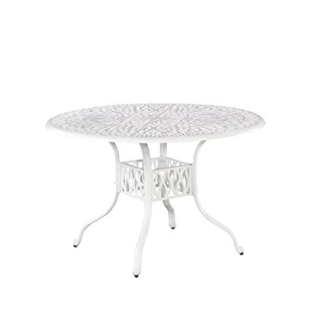 Floral Blossom White Round Outdoor Dining Table, 48 by Home Styles