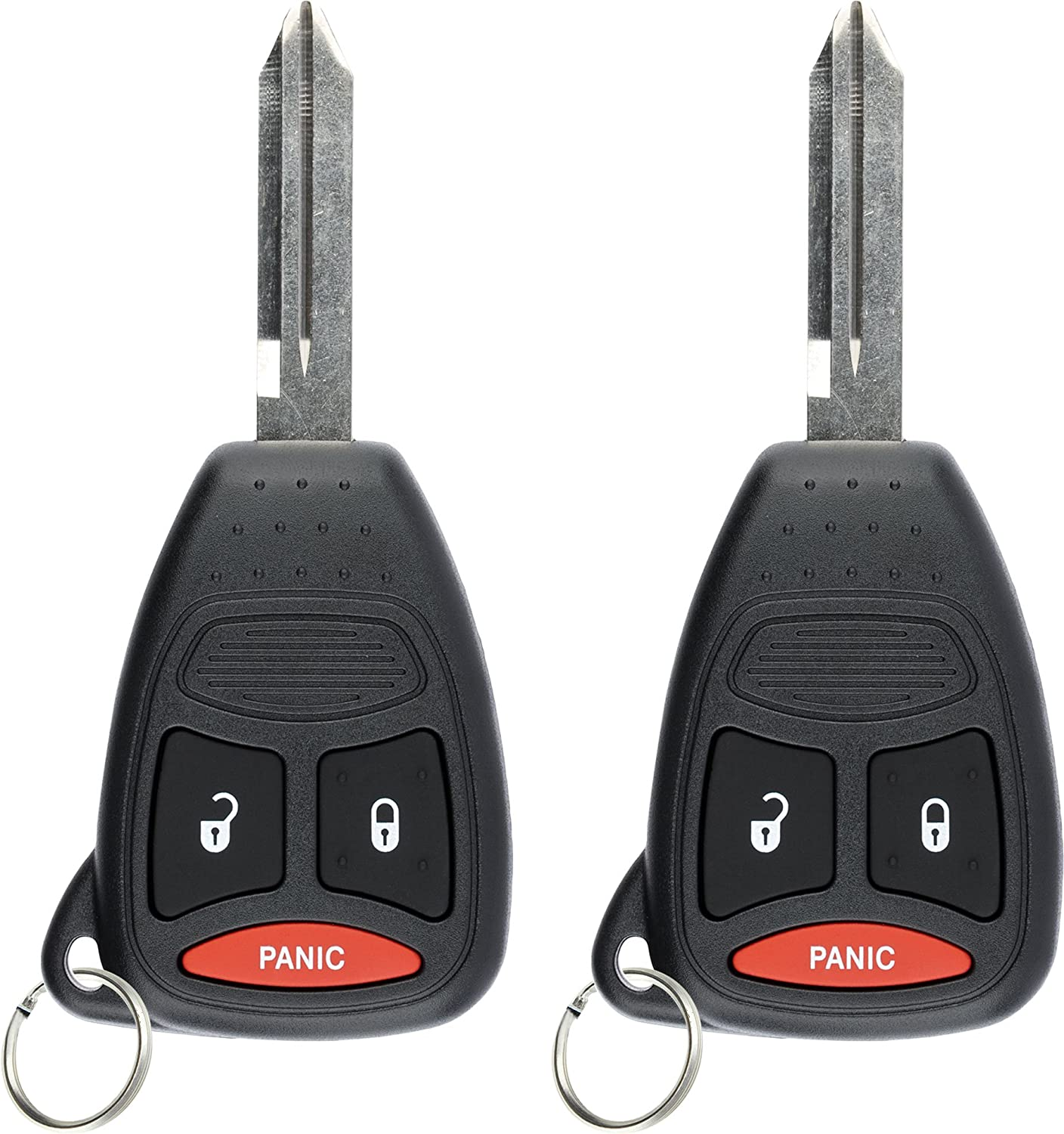 KeylessOption Keyless Entry Remote Control Blank Uncut Car Key Fob Replacement for KOBDT04A Pack of 2