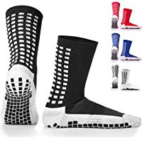 (INNER AND OUTER GRIPS) LUX Football Socks with Anti Slip Non Skid Sports Grip Pads Inside & Outside, Perfect for Men's/Women's Running, Weightlifting, Fitness, Hiking & Yoga in Black,White,Blue,Red