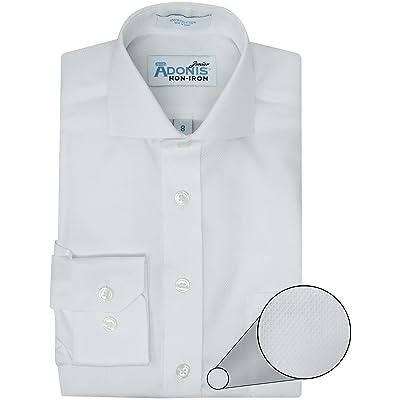 Adonis Boys 100% Cotton Non Iron White Long Sleeve Birdseye Pique Dress Shirt (Slim, Regular & Husky Fit)
