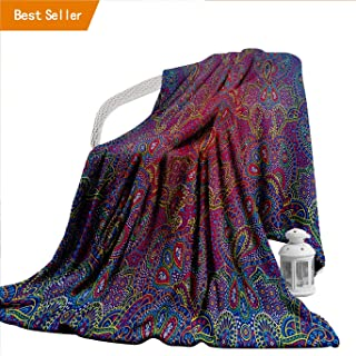 Flannel Throw Blanket, Purple Decor Collection Boho Paisley Pattern Indian Ethnic with Asian Elements Cultur Bedspread Blanket for Home,300GSM, Super Soft and Warm, Durable Throw:40' x 60'