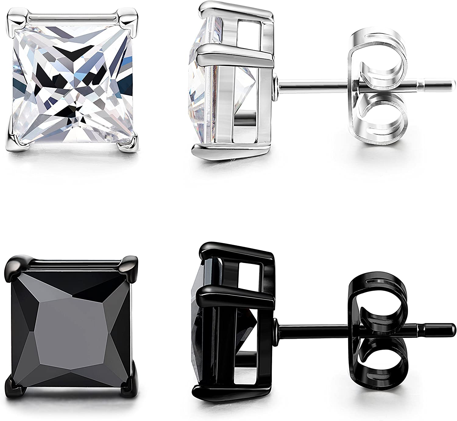 ORAZIO 2 Pairs Mens Womens Stainless Steel Stud Earrings Square Cubic Zirconia Earrings Pierced