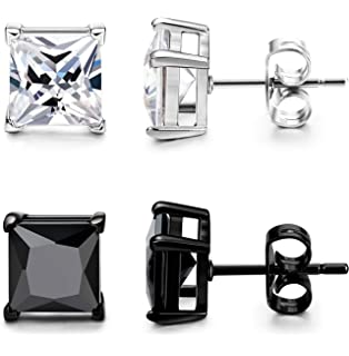 Amazon Com Jstyle Stainless Steel Mens Womens Cubic Zirconia Stud