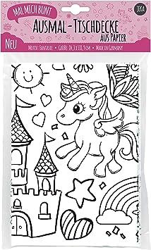 Jeka Papier Tischdecke Zum Ausmalen Motiv Fantasiewelt Bemalbare Tischdecke Einhorn Deko Kindergeburtstag Ausmalen Madchen Mal Mich Bunt Amazon De Spielzeug