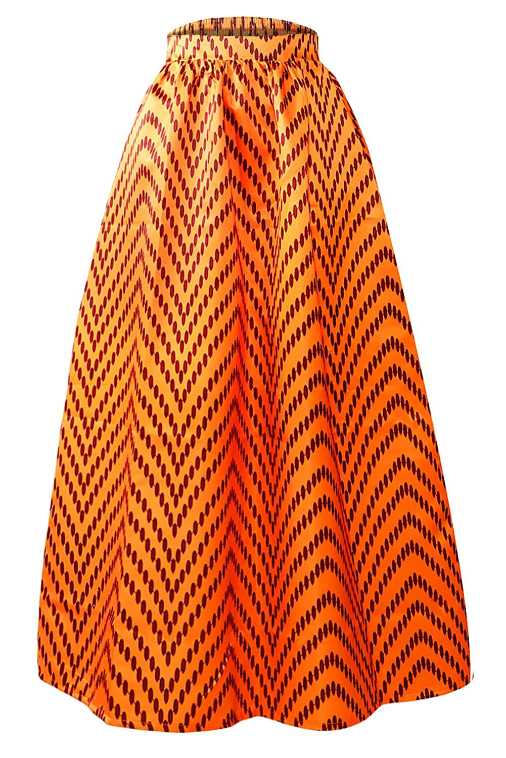 Red Dot Boutique 8824 - Plus Size Ethnic African Print Long Maxi Skirt
