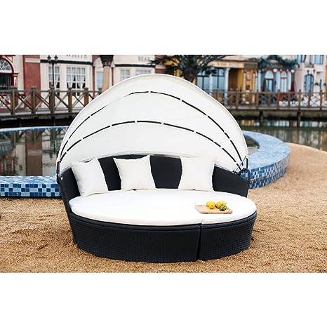 Concept-Usine Circa : salon de jardin modulable 6/8 pers en résine tressée  poly rotin noir