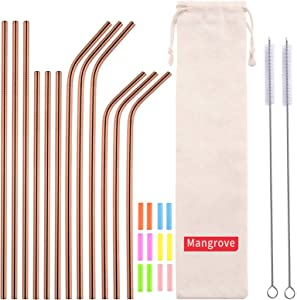 Mangrove 12 pieces of Rose gold Stainless-steel Straws, Metal straws Reusable,Dishwasher Safe, Equipped with 2pcs Straw Cleaning Brushes, 12pcs Colored Silicone Heads, and 1pc PortableStorage Bag.