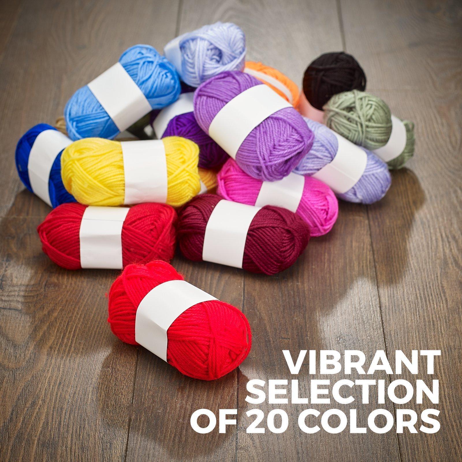Mind My Thread 20 Super Soft Acrylic Yarn Skeins Set | Assorted Colors Crochet & Knitting Craft Yarn Kit with Reusable Storage Bag & Bonus Crochet Hook | 20 Colors Yarn Multi Pack by Mind My Thread (Image #3)
