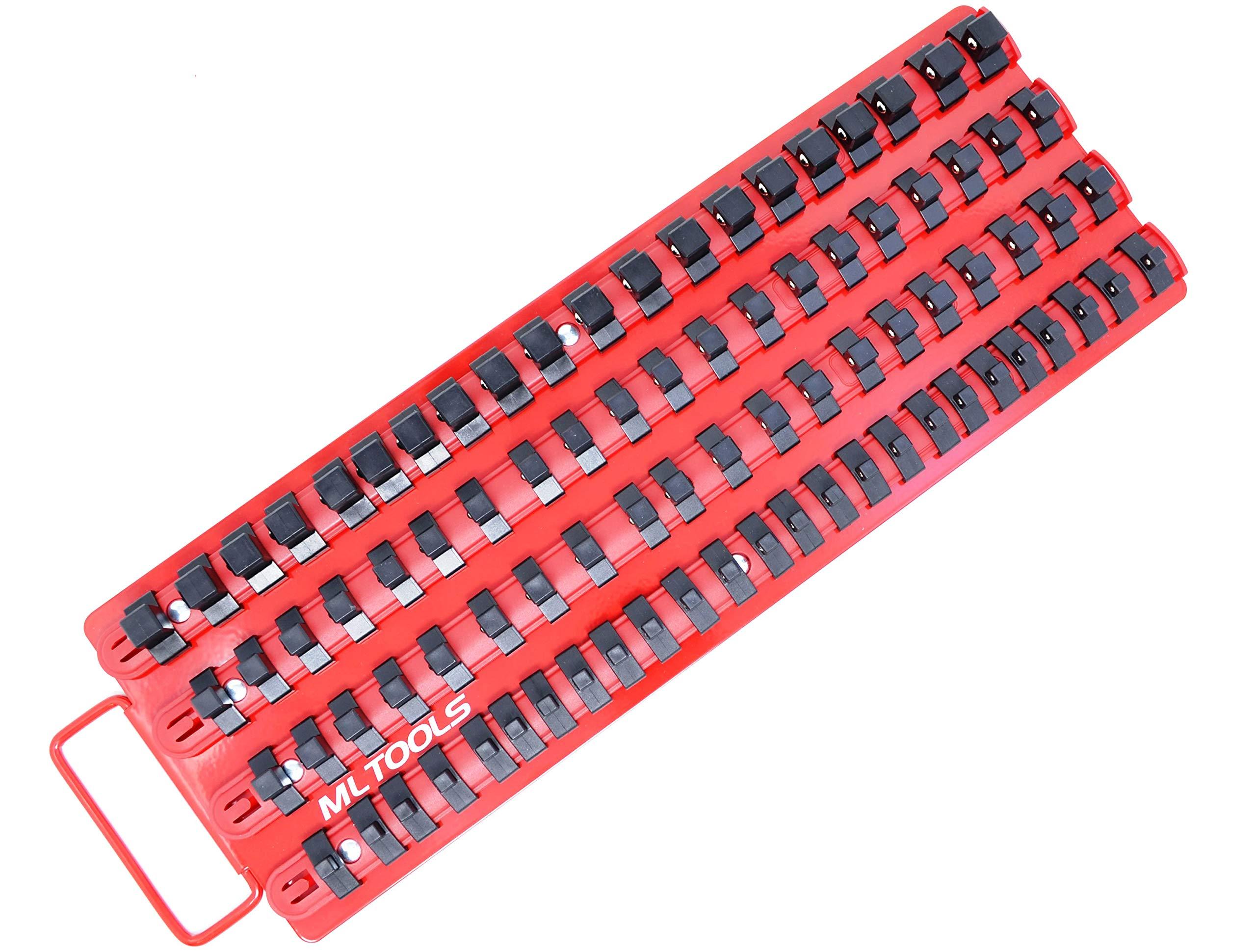 MLTOOLS Socket Organizer | Holds 85 Sockets | Ball Bearing Clips Socket Organizer Tray T-8316 1 Pack