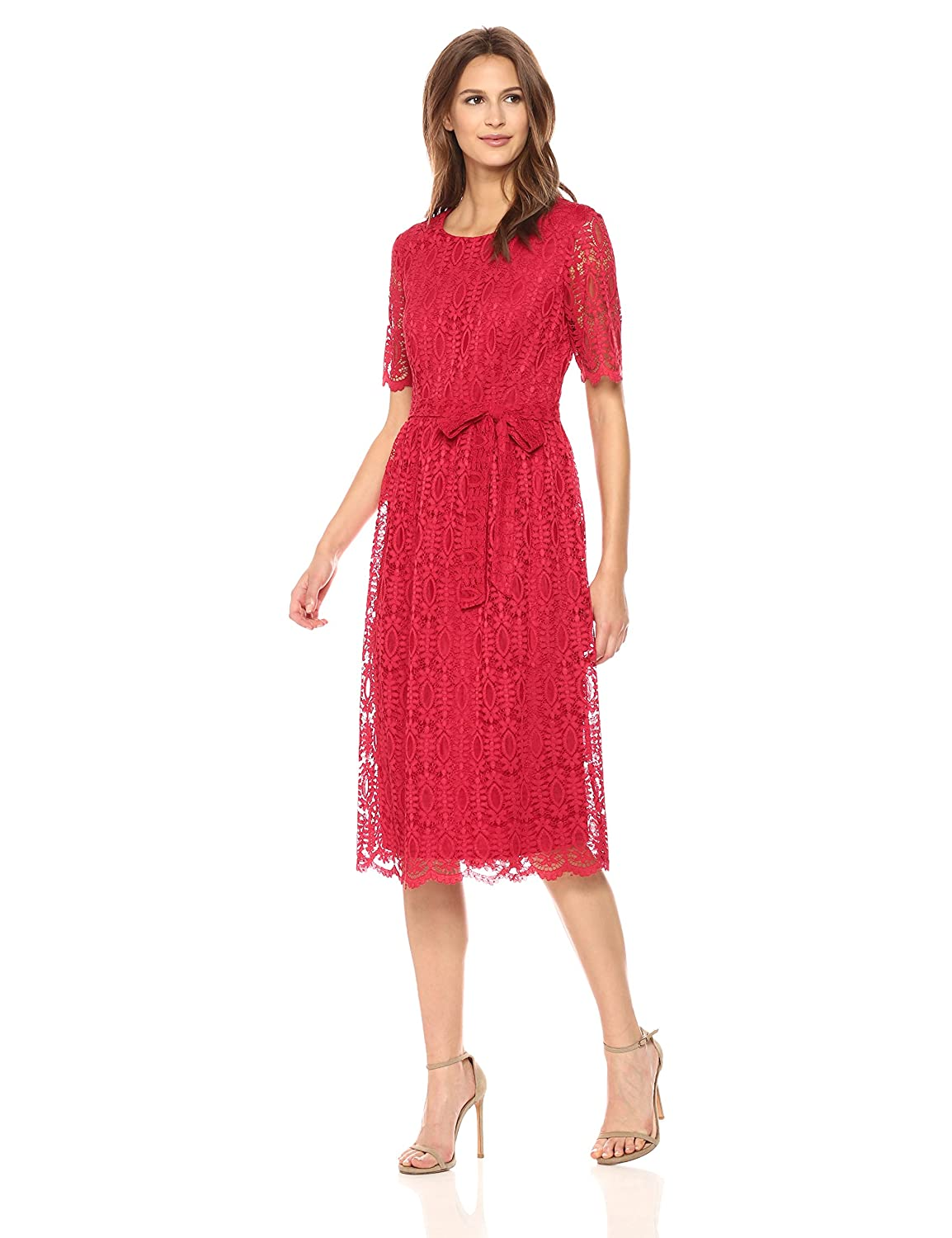 48a4e3d919 Top5  Nine West Women s Short Sleeve Lace Fit and Flare Midi Dress with  Self Sash