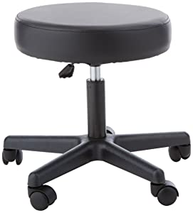 Sammons Preston Pneumatic Therapy Stool, Black, Dense Foam Cushion Stool for Extra Support and Comfort, Swivel Seat with Mobility Wheels for Clinical & Hospital Use, Lower Body Support, Rolling Stool