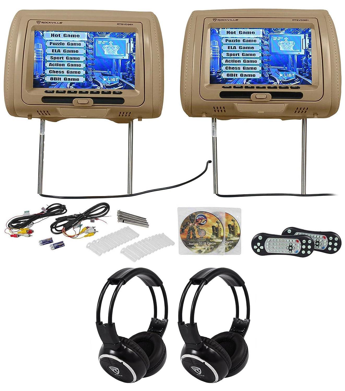Amazon.com: Rockville RTSVD961-BG 9 Beige Touchscreen DVD/HDMI Headrest  Monitors+Headphones: Cell Phones & Accessories