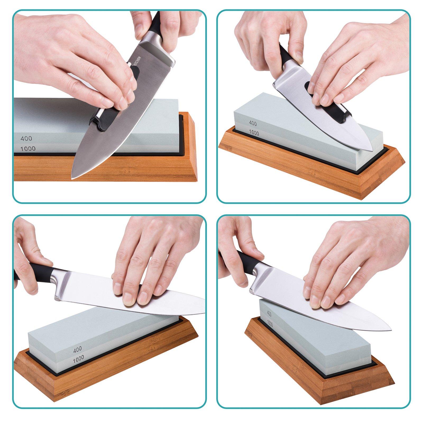 Premium Knife Sharpening Stone Kit, ASEL 4 Side 400/1000 2000/5000 Grit Whetstone, Best Kitchen Blade Sharpener Stone, Non-Slip Bamboo Base and Bonus Angle Guide Included by ASEL (Image #6)