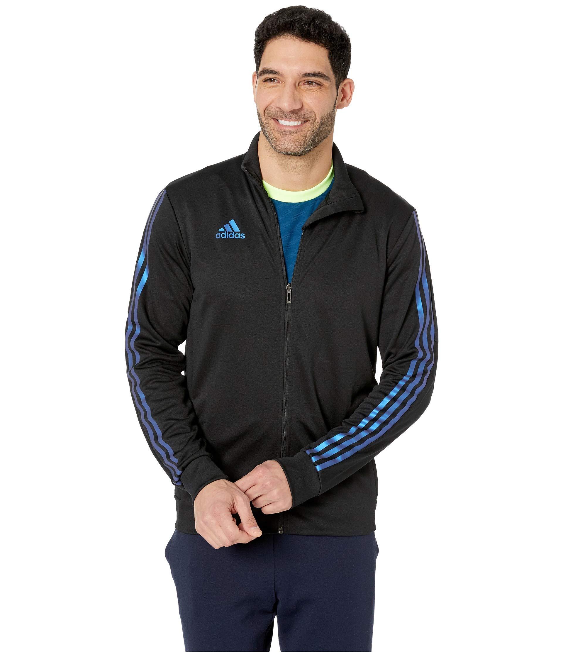 adidas Men's Alphaskin Tiro Training Jacket, Black/Blue Pearl Essence, XX-Large by adidas
