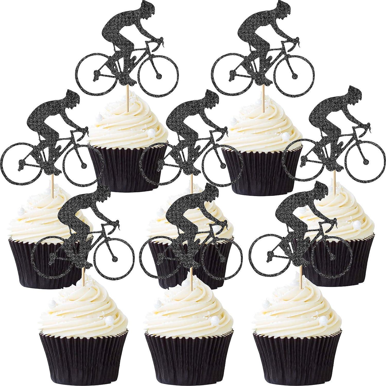 Blulu 72 Piezas Toppers de Magdalena de Bicicleta Toppers de Pastel de Bicicleta Deporte Decoración de Tarta de Bicicleta de Purpurina para Suministro de Fiesta de Cumpleaños Temática de Bicicleta