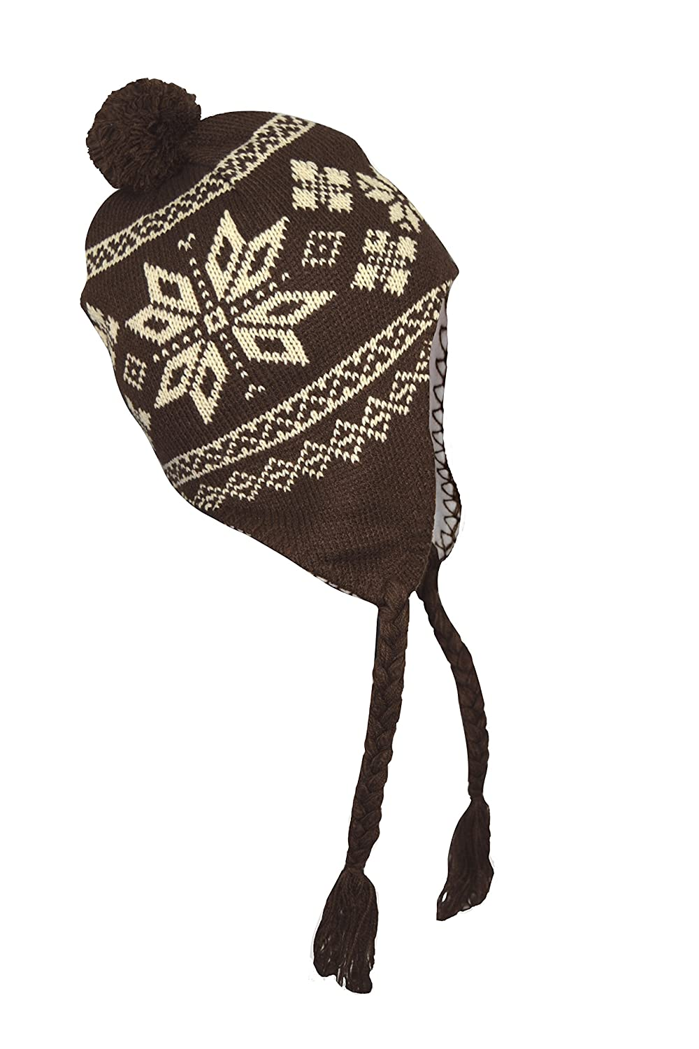 3ebe9eda282 Amazon.com  Peach Couture New Kids Youth Stylish   Warm Tribal Fall Winter  Knit Trapper Hat Cap (Snowflake Brown)  Clothing