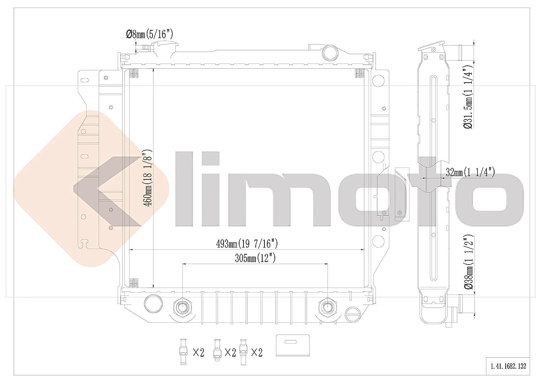 Klimoto Brand New Radiator fits Jeep TJ 1997-2006 Wrangler 1987-2006 2.4L 2.5L 4.0L 4.2L CH3010221 040876420151 52028120 5200612 CU1682 RAD1682 DPI1682
