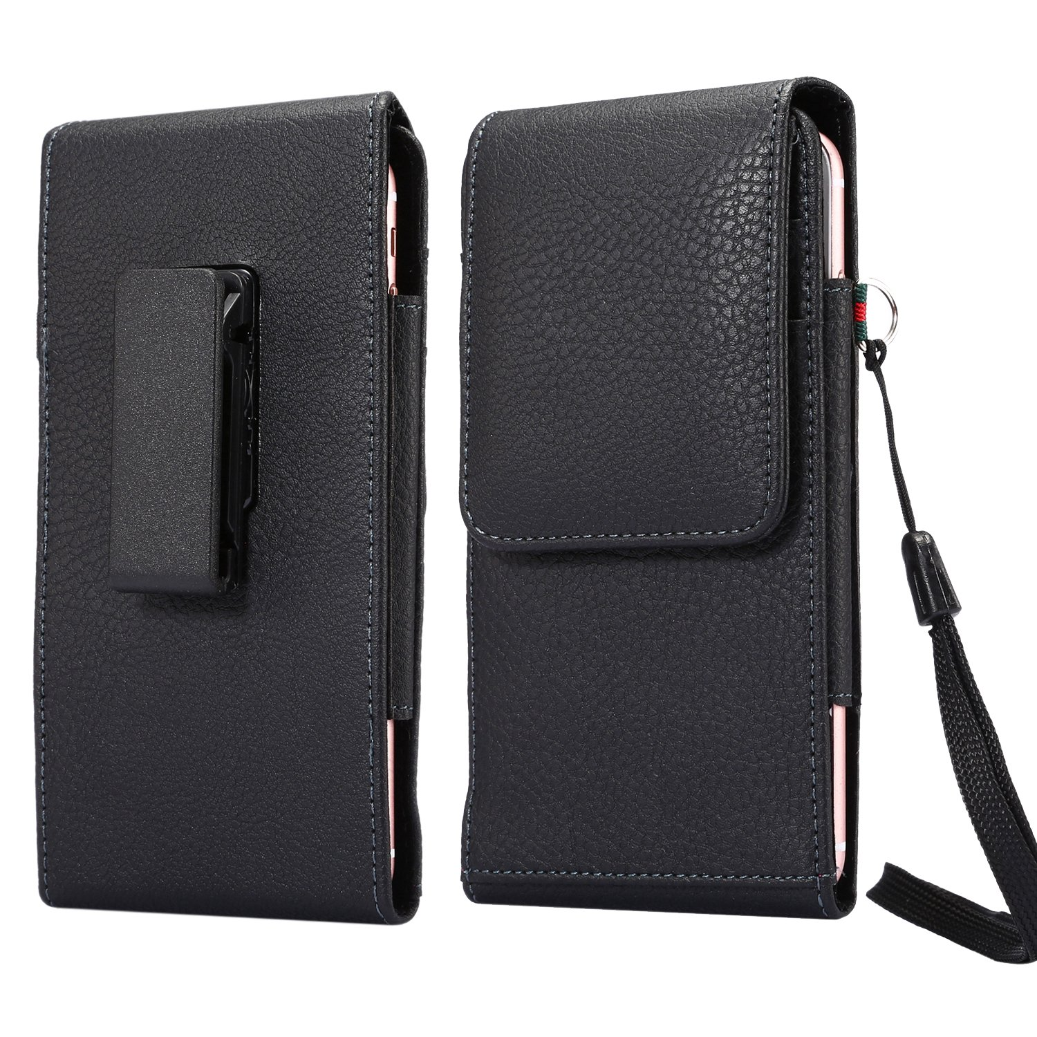 Faux Leather Vertical Rotating Belt Clip Case Holster Phone Pouch Holder with Card Slots for iPhone Xs Max, Samsung Galaxy A10, A20, A50, LG V40 ThinQ, Stylo 4, OnePlus 6T, Moto G7 Power (Black)