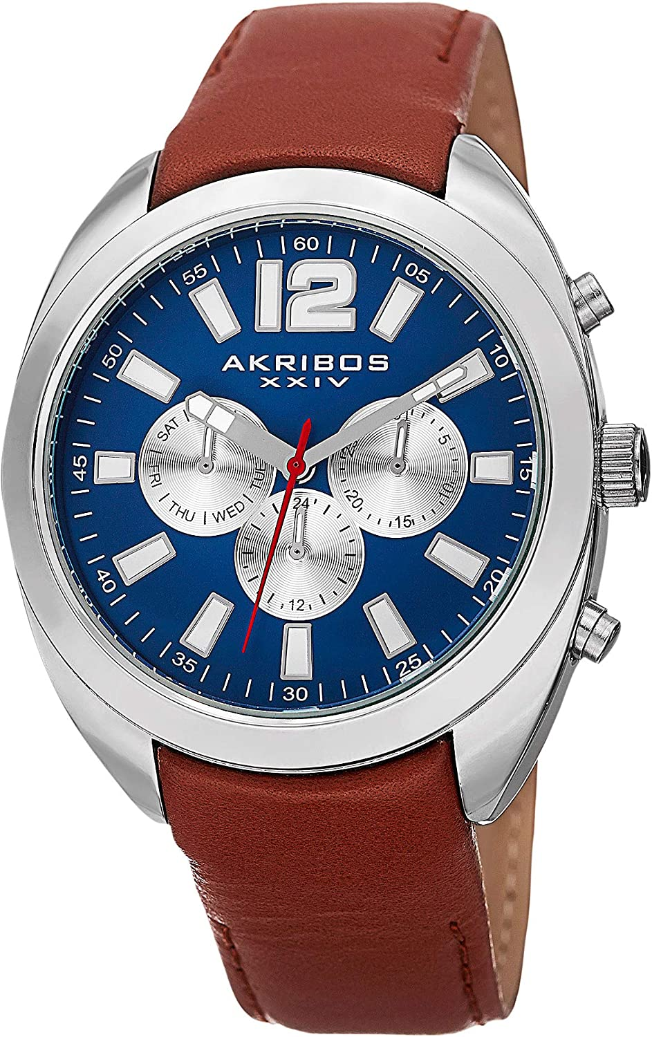 Akribos XXIV Men s Multifunction Watch – 3 Subdials Day, Date, and GMT On Cognac Calfskin Leather Strap – AK777