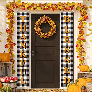 Thanksgiving Decorations Blessed Thankful Buffalo Check Plaid Banners Porch Signs Garden Flags Rustic Fall Decor Outdoor Indoor for Home Farmhouse Classroom Door Window Wall Garden Yard Party (Orange)