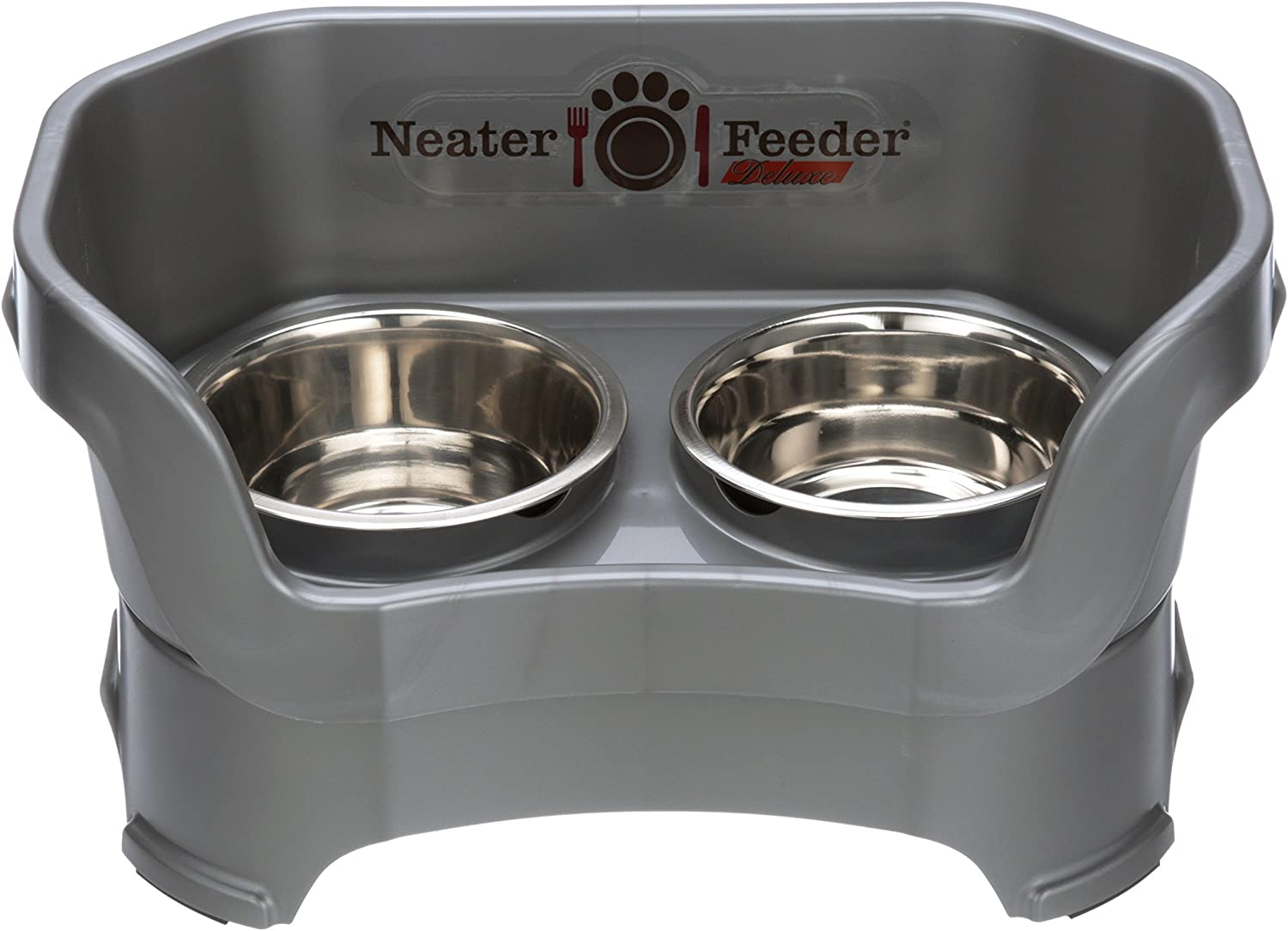 Neater Feeder Deluxe Medium Dog (Gunmetal Grey) - The Mess Proof Elevated Bowls No Slip Non Tip Double Diner Stainless Steel Food Dish with Stand