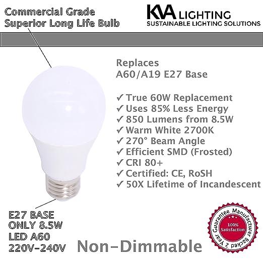 KVA LIGHTING - Bombilla LED E27 A60 A19, brillante 850 lúmenes, 8,5 W equivalente a 60 W, no regulable, efecto escarchado, luz blanco cálido 2700K - 2 ...