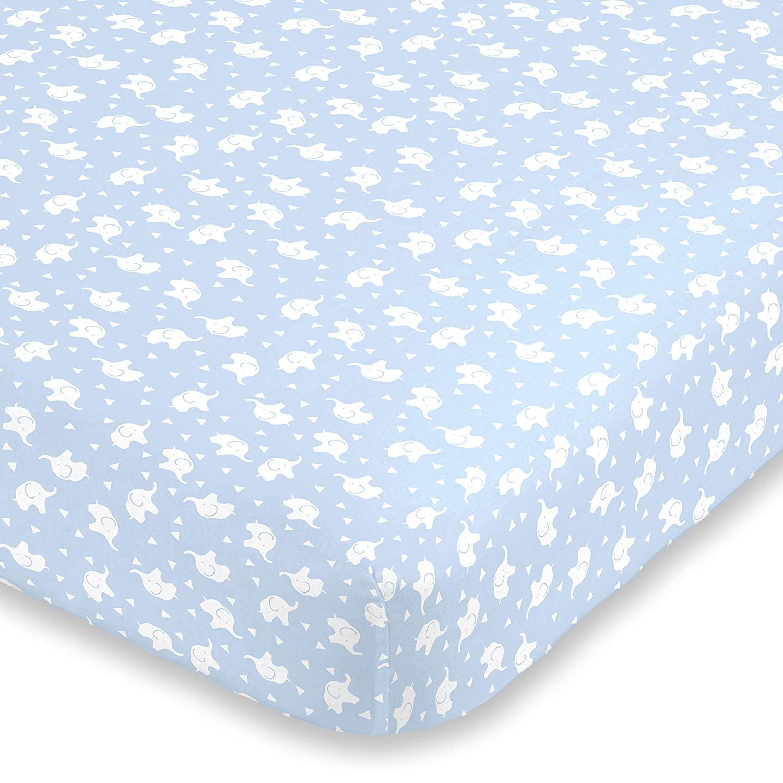 NoJo Super Soft Elephant Fitted Crib Sheet, Blue/White