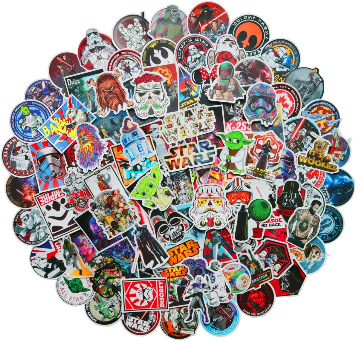 100 PCS Star Wars Stickers for Laptop Water Bottle Luggage Snowboard Bicycle Skateboard Decal for Kids Teens Adult Waterproof Aesthetic Stickers