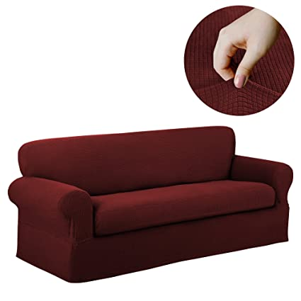 Surprising Maytex Reeves Stretch 2 Piece Sofa Furniture Cover Slipcover Red Home Interior And Landscaping Eliaenasavecom