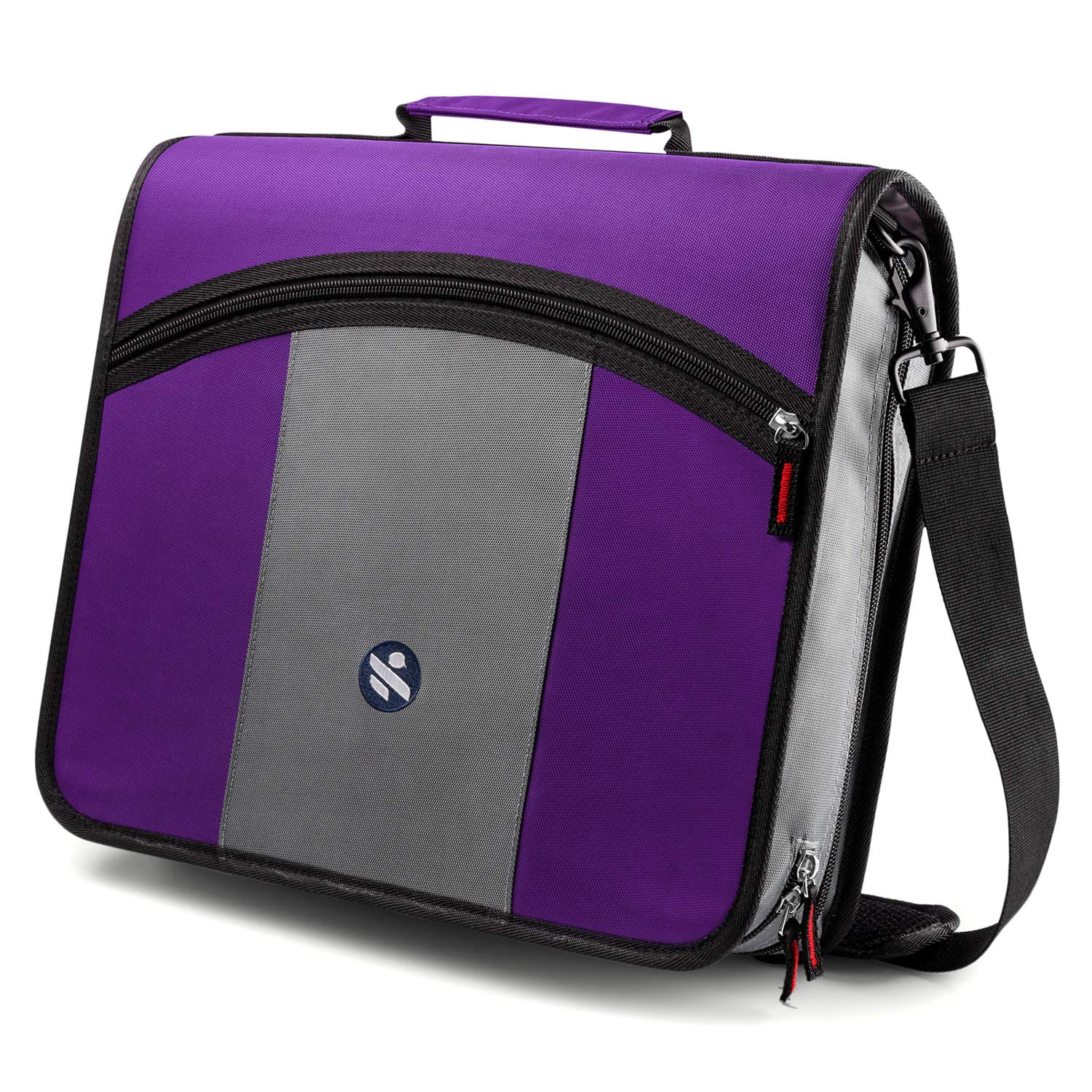 Round Ring 3-Inch Zipper Binder, Designed with Expanding Files and Handle, Shoulder Strap Included, Purple by Kinbashi