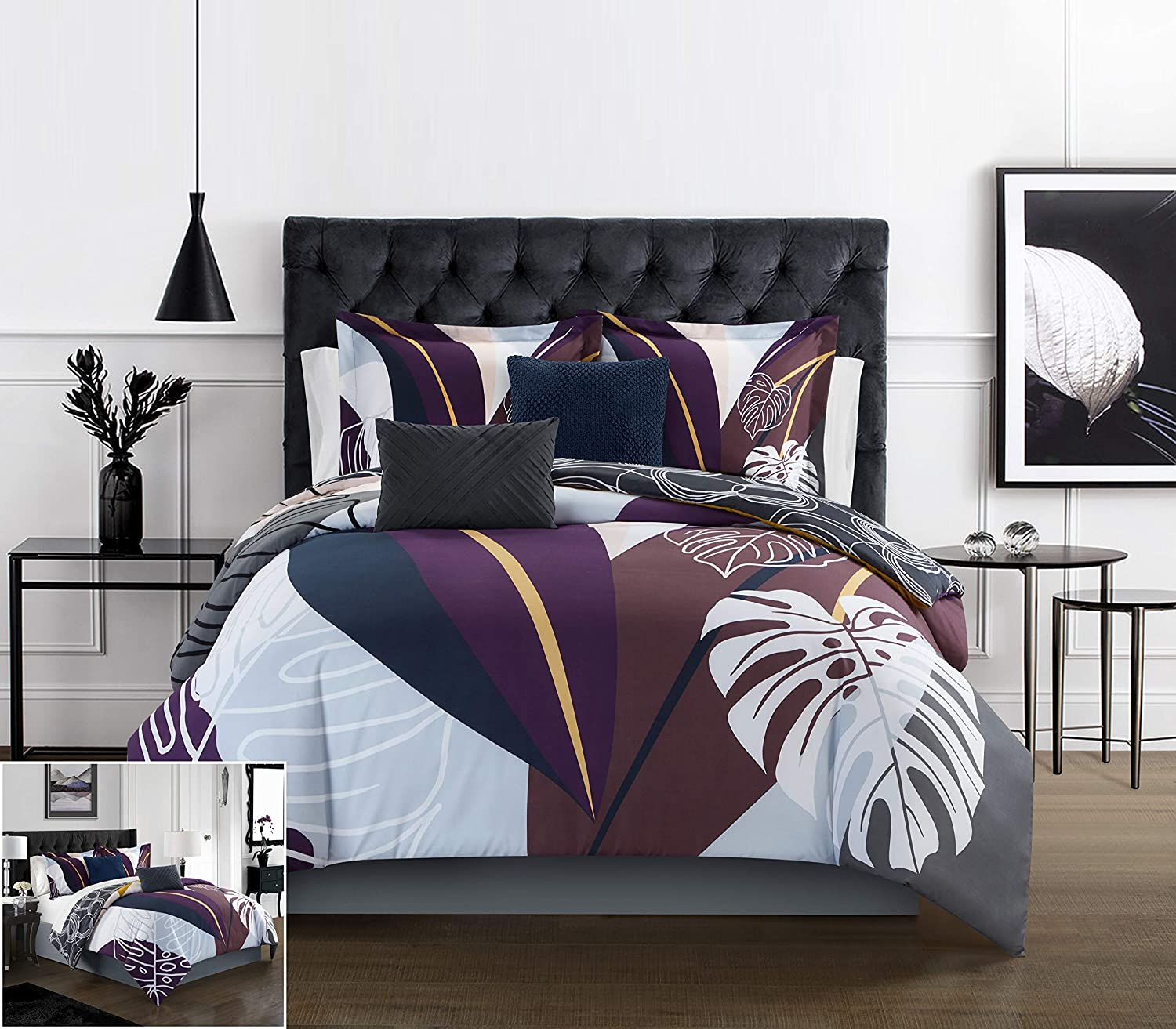 Chic Home Anaea 4 Piece Comforter Set Large Scale Abstract Floral Pattern Print Bedding Decorative Pillows Sham Included Twin Multi Color Home Kitchen