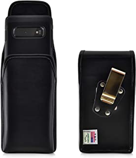 product image for Galaxy S10+ Plus Belt Case, Turtleback Vertical Galaxy S10+ Plus Holster, Black Leather Pouch with Heavy Duty Rotating Belt Clip, Made in USA