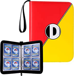 D DACCKIT Carrying Case Binder Compatible with Pokemon Card, Holds Up to 400 Cards - Trading Cards Collectors Album with 50 Premium 4-Pocket Pages - Red & Yellow