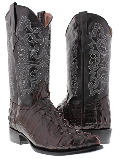 2b5f1a41805 Team West - Men's Black Cherry Crocodile Tail Leather Cowboy Boots J Toe  13.5 2E US