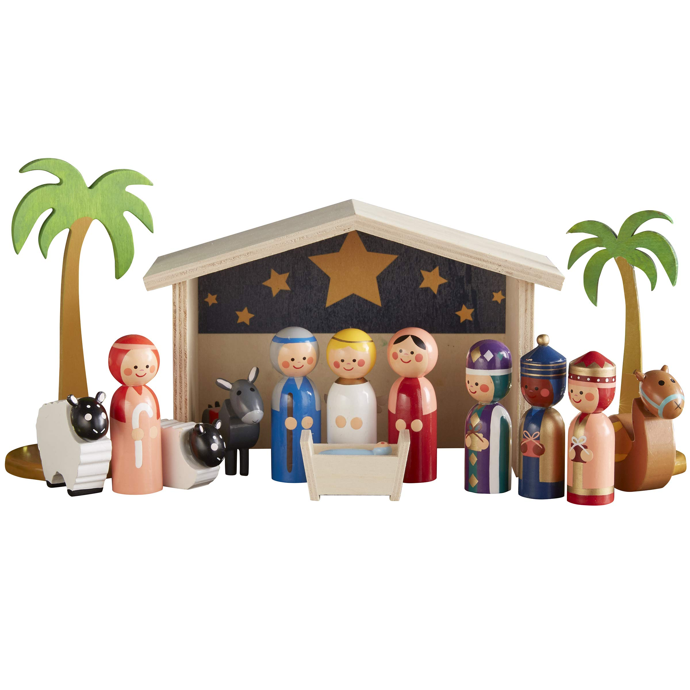 FAO Schwarz Holiday Nativity Set Wood 15pc