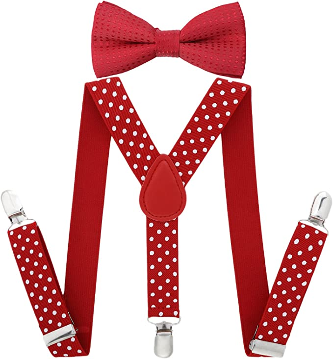 baby boy//girl Accesorries Red w// dot toddler bow tie and  Red suspenders set
