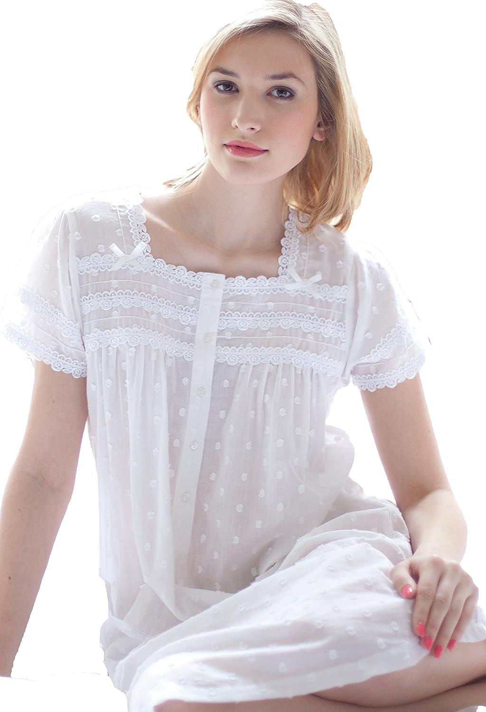 e7f70850a3 Cotton Lawn Nightdress Jacquard Polka Dot Cap Sleeve by Cottonreal Jane  (Large)  Amazon.co.uk  Clothing