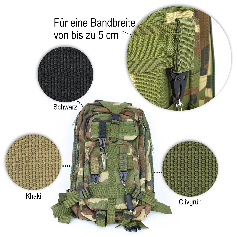COM-FOUR/® Moschettone 3X in Metallo con Chiusura in Velcro Kaki e Nero Portachiavi in ??Verde Oliva 03 Pezzi 9,5 x 3 cm