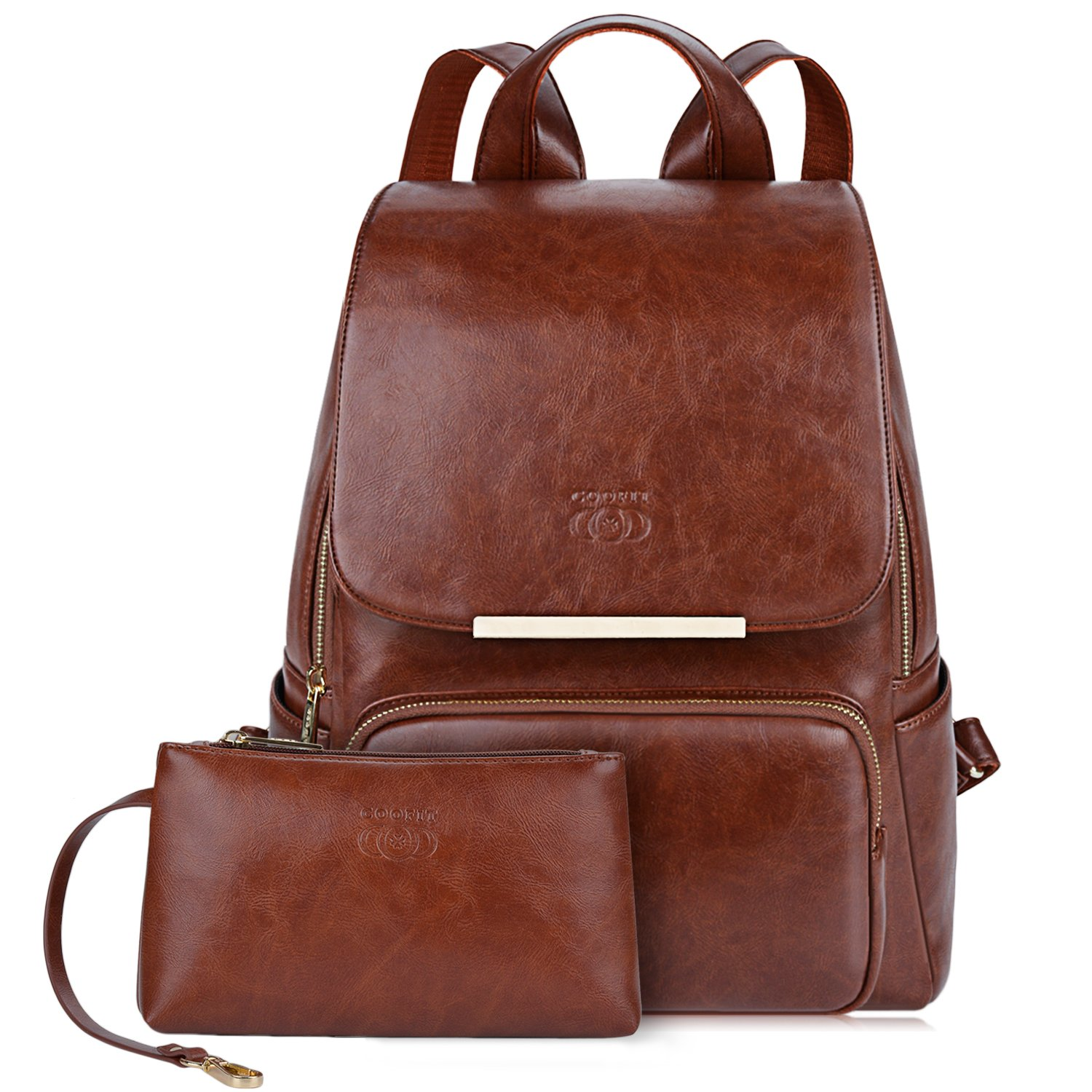 4d142469a9f1 Brown Womens Backpack, COOFIT Faux Leather Backpack Purse College Backpacks  Adult Backpacks for Women Brown