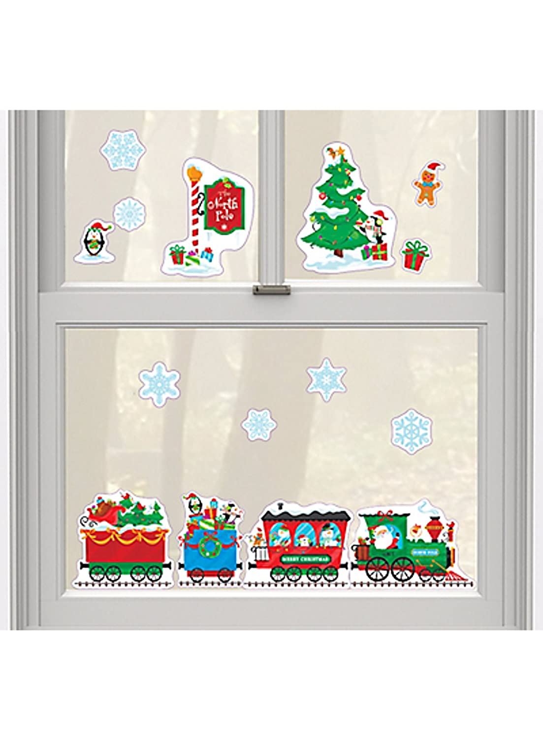 Merry Christmas Window Clings ~ North Pole Train, Snowflakes, Penguins, Gingerbread Men (1 Sheet, 15 Clings)