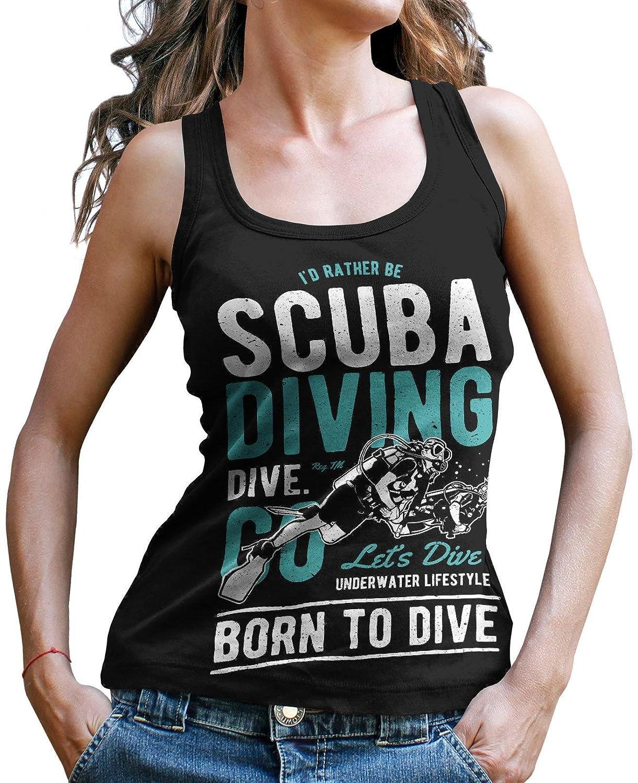 Stylotex Damen//Girlie T-Shirt I/´d Rather be Scuba Diving Sport T-Shirt Fitness Ladies