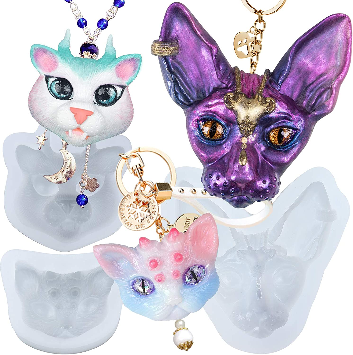 Amazon Com Epoxy Resin Charms Silicone Molds Set Jewelry Casting Supply Sphynx Cat Dragon Kitty Horns Kitten Head Kitchen Dining