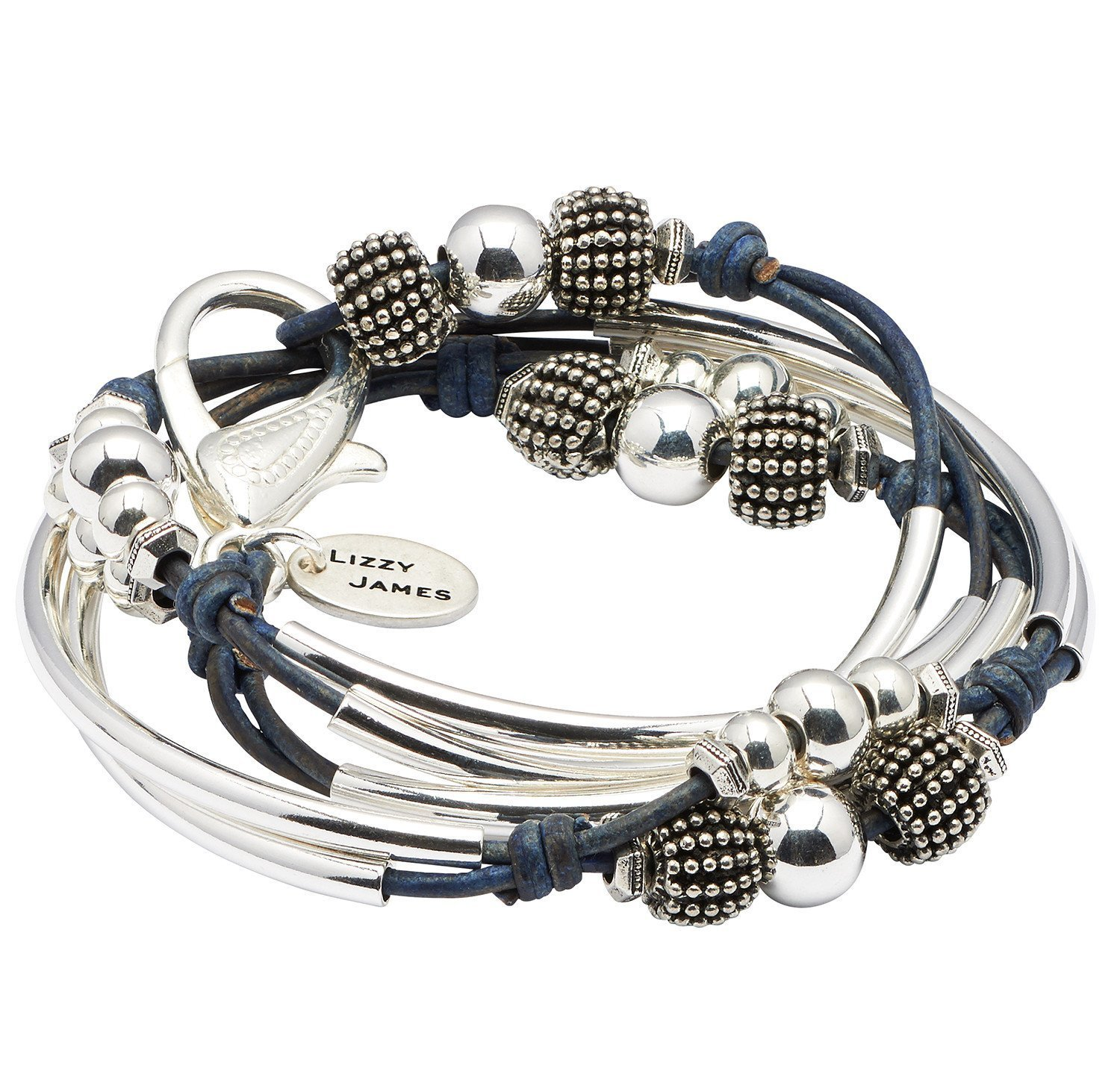London Silverplate Medium Bracelet Necklace with Gloss Navy Blue Leather Wrap by Lizzy James