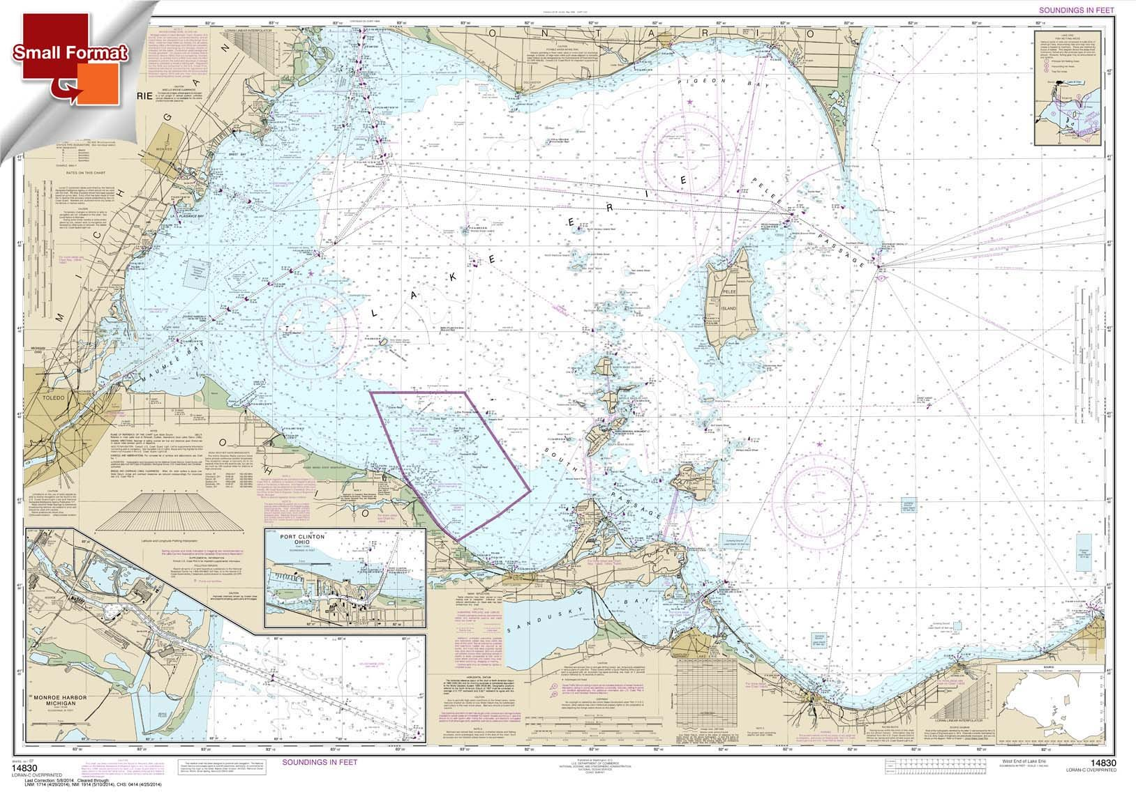 NOAA Chart 14830: West End of Lake Erie; Port Clinton Harbor 21.00 x 30.10 (SMALL FORMAT WATERPROOF)