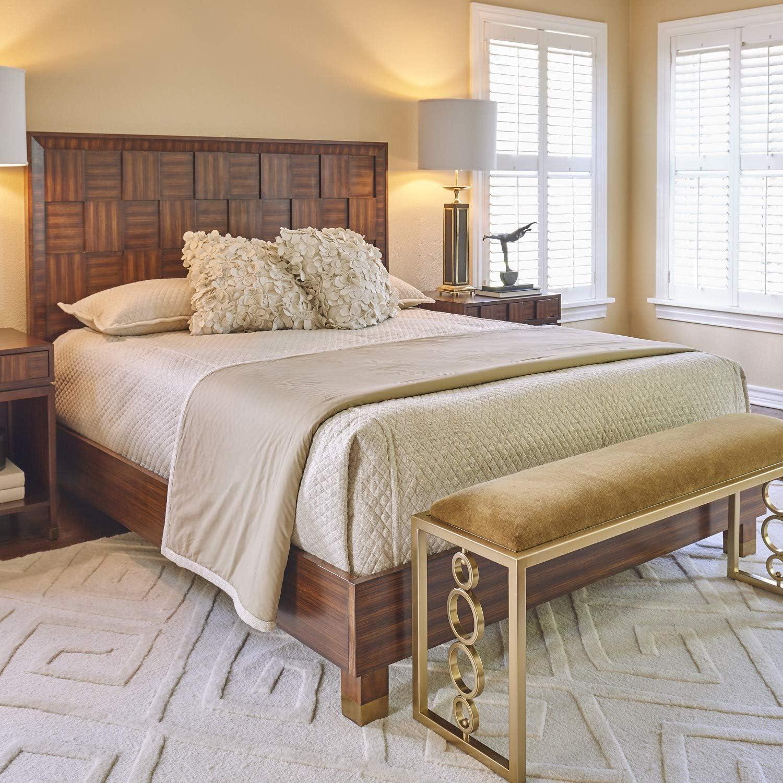 Amazon Com Elegant Teak Wood Block King Bed Headboard Frame Mid