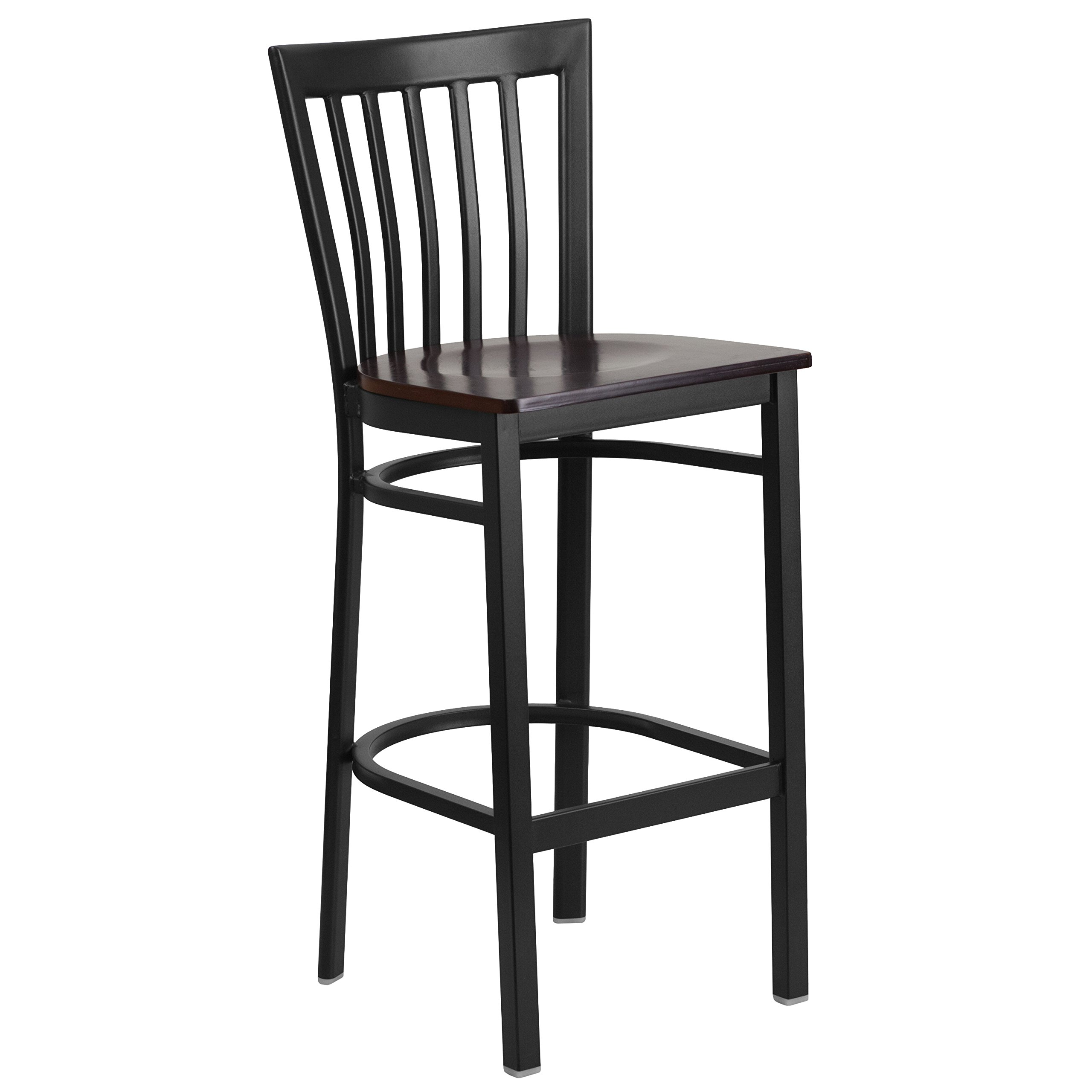Flash Furniture HERCULES Series Black School House Back Metal Restaurant Barstool - Walnut Wood Seat