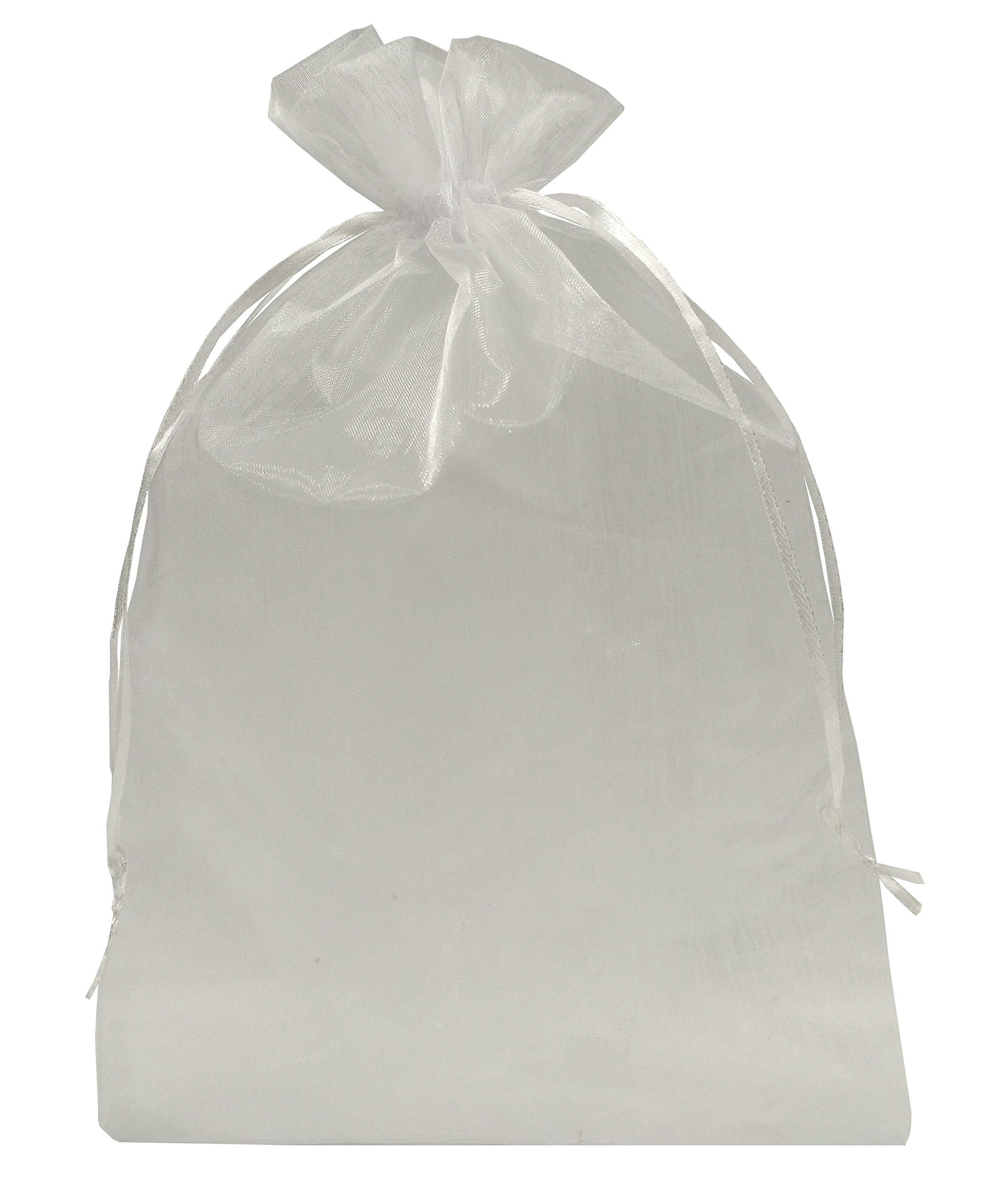 Ankirol 100pcs Sheer Organza Favor Bags 8 X 12'' Large Organza Drawstring Bags (White) by Ankirol