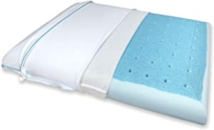 Bluewave Bedding Slim CarbonBlue Max Cool Memory Foam Pillow - Thin and Flat Design for All Sleeping Styles (Standard)
